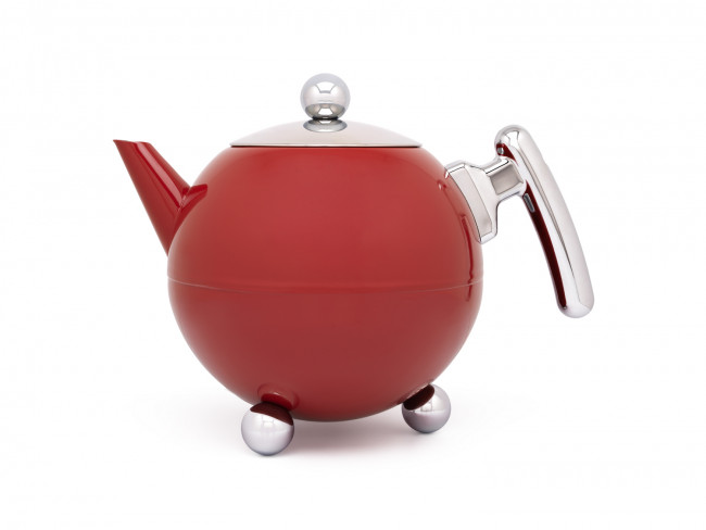 Theepot Duet® Bella Ronde 1,2L, Carmine Red, chroom beslag