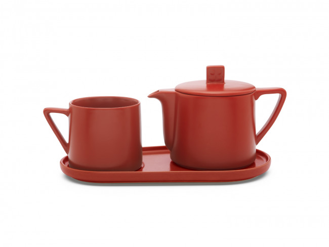 Tea-for-one set Lund, rood