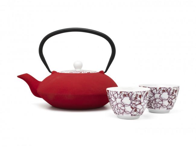 Theepot Yantai 1,2L, rood, porseleinen deksel