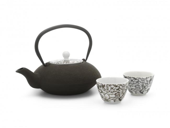 Theekopjes Yantai zwart/bruin set/2