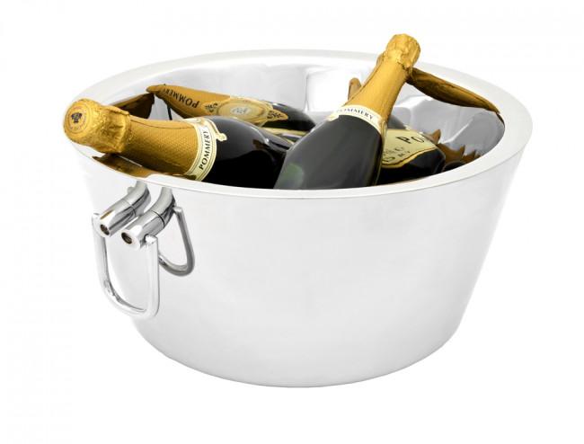 Champagneschaal dubbelwandig met oren, rvs