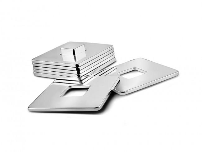 Onderzetters vierkant set van 6 met houder vernickeld