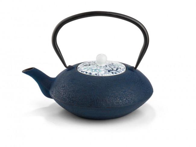 Theepot Yantai donkerblauw, porseleinen deksel, 1,2L
