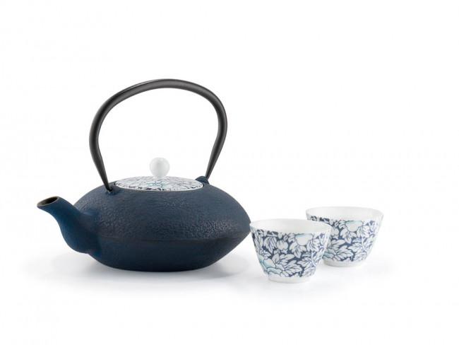 Theekopjes Yantai, donkerblauw, set van 2